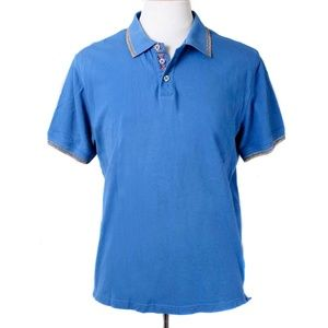 Robert Graham Flyak Blue Colorful Trim Polo Shirt